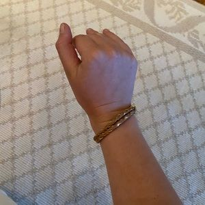 Braided gold and leather bracelet